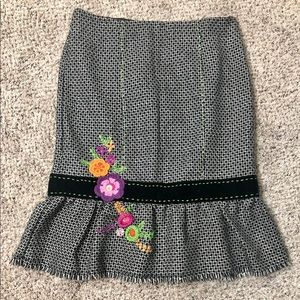 Nanette Lepore Floral Embroidered Wool Skirt